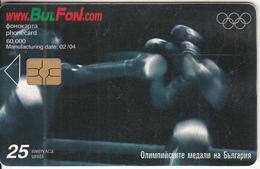 BULGARIA - Athens 2004 Olympics/Boxing, Bulfon Telecard 25 Units, CN : 3030, Tirage 10000, 02/04, Used - Bulgaria