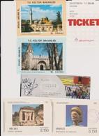 Lot De 6 Tickets Visites Sites Istanbul Ste Sophie Et Topkapi 1990, Atomium, Strip Museum Bruxelles 2014, Grèce 1985 - Tickets - Vouchers