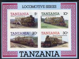 1921 (royal) Tanzania 1985 Locomotives Imperf Proof Miniature Sheet With 'Caribbean Royal Visit 1985' Opt In Gold (un - Royalties, Royals