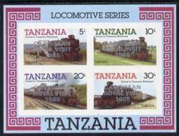 1919 (royal) Tanzania 1985 Locomotives Imperf Proof Miniature Sheet With 'Caribbean Royal Visit 1985' Opt In Silver (u - Royalties, Royals