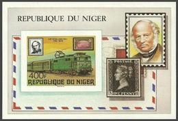 NIGER 1979 TRAINS RAILWAYS LOCOMOTIVES ROWLAND HILL OMNIBUS IMPERF M/SHEET MNH - Niger (1960-...)