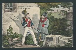 """NAPOLEON. Souvenir De Waterloo. """" On Ne Passe Pas"""" Oblitèration Waterloo. 2 Scans - Histoire"""
