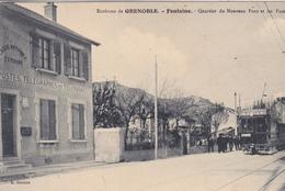 38. GRENOBLE ( ENVIRONS) . CPA. RARETÉ. QUARTIER DU NOUVEAU PONT ET LES POSTES.  ANNEE 1917+TEXTE. TRAMWAY - Grenoble