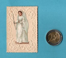 Images Pieuses Image Pieuse Relief  Communiante Chromo Decoupis Collé  Format ( 5 X 7,3 ) Voir Piece 2 Euros - Devotieprenten