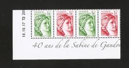 """2017 -  Bloc De 4 Timbres """"40 Ans De La SABINE De GANDON """" NEUFS ** LUXE - MNH - Unused Stamps"""
