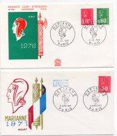 1971 Et 1976 - Marianne De Béquet - 1er Jour - 1971 Tp N°1664 Et 1976 Tp N°1894 + 1895 - 2 Enveloppes - FDC