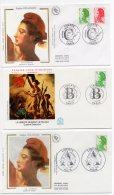 1986 à 1990 -Liberté Delacroix -1er Jour 1986 (n°2423) 1987 (n°2318/2320) 1985 (n°2483) 1990 (n°2615+2616) 3 Envel- Imag - FDC