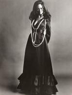 USA Mode Feminine Annees 60 Kasper Of Joan Leslie Robe De Soiree Satin Noir Perles Ancienne Photo - Photographs