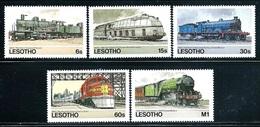 """Lesotho    """"Trains""""    Set     SC# 453-57    MNH - Lesotho (1966-...)"""