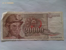 Billete Yugoslavia. 20.000 Dinares. 1987 - Jugoslavia