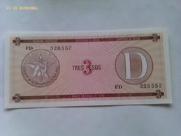 Billete Cuba. 3 Pesos. Serie D. 1985. Certificado De Divisa. Banco Nacional De Cuba. Sin Circular - Cuba
