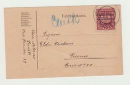 FELDPOSTKARTE - CARTOLINA DA CAMPO 1918 - 10 HELLER SOVRASTAMPA REGNO D'ITALIA VENEZIA GIULIA VIAGGIATA VERSO FIUME - 1918-1945 1a Repubblica