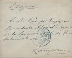 1916 , FRANQUICIA DEL MINISTERIO DE LA GUERRA , SOBRE CIRCULADO A ZARAGOZA - 1889-1931 Regno: Alfonso XIII