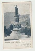 TRENTO - MONUMENTO A DANTE - CARTOLINA VIAGGIATA 1919 COPPIA 10 CENT TRENTO E TRIESTE SOVRASTAMPA 10 CENT DI CORONA -P.M - Trento