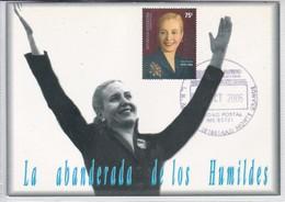 EVA PERON. LA ABANDEERADA DE LOS HUMILDES. OBLIT MONTE GRANDE 2006. CARD. TBE.-BLEUP - Famous Ladies