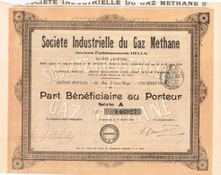 Ancienne Action - Société Industrielle Du Gaz De Méthane - Anciens Ets Hella  - Titre De 1909 - Electricité & Gaz