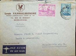 L) 1948 BELGIUM, COMMUNICATIONS CENTER SCOTT A101, 3FR BRT RED VIO, SCOTT A84, CIRCULATED COVER FROM BELGIUM TO USA, AIR - Airmail