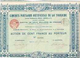 Ancienne Action - Ciments Portland Artificiels De La Touraine  - Titre De 1907 - Industrie