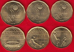"Argentina Set Of 3 Coins: 20 - 100 Pesos 1978 ""Soccer - Football"" UNC - Argentine"