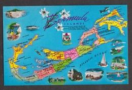Island Map With Mini Pictures, Bermuda - Uunsed - Bermuda