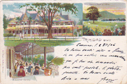 "Trinidad - Multivues "" Queen's Park Hotel, View In Front Of Hotel, Breakfast Galery"" Circulé 1906, Timbre Décollé - Trinidad"