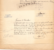 Brief Lettre Notaris Alfred Dirix - Zwijndrecht Anvers Antwerpen - 1922 - Unclassified