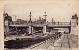 02,cpa,AISNE,picardie,pont Sur Le Canal Du Nord,avant Guerre,yhe Bridge Before War,,péniche,1913 - Saint Quentin