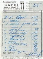 Ancienne Facture Du Restaurant Capri, Avda De Jaime, Salou (Espagne) (1973) - Spain
