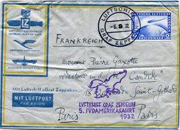 """ALLEMAGNE LETTRE AVEC CACHET ILLUSTRE """"LVFTICHIFF GRAF ZEPPELIN 5. IVDAMERIKAFAHRT 1932"""" DEPART LUFTSCHIFF 6-9-32 GRAF.. - Poste Aérienne"""