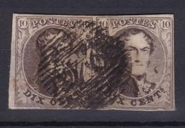 N° 6 Paire Margée OBLITERATION NON REGLEMENTAIRE à Cheval Sur Les Timbres  Pieds De Lettres En Filigrane - 1851-1857 Médaillons (6/8)