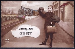 GENT - PRACHTKAARTJE ** GROETEN UIT GENT ** TREIN - TRAIN - LOCOMOTIVE - VICTORIAN CARD - Gent