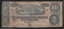 Etats Unis - Confédérés - Richmond 10 Dollars - 1864 - Pick N°68 - B/TB - Confederate Currency (1861-1864)