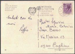 """AM102  STORIA POSTALE 1969 - ANNULLO """"O.I.L. CONFERENZA TECNICA MARITTIMA PREPARATORIA GENOVA"""" - 1961-70: Storia Postale"""