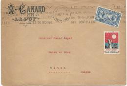 LETTRE 1927 POUR LA SUISSE AVEC TIMBRE A 1 FR 50 LEGION AMERICAINE ET VIGNETTE TUBERCULOSE - Poststempel (Briefe)
