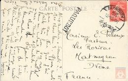 France  #194 - Type Semeuse Camée - Paquebot MARIETTE PACHA - Seul Sur Carte Postale  De 1926 - Beyrouth - Postmark Collection (Covers)