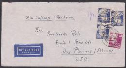 Germany Karl Marx, Gerhard Hauptmann Luftpost-Brief Eisenach - Des Plaines Illionis USA. Stempelfehler 1959 Statt 1950 - Sowjetische Zone (SBZ)