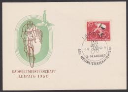 Visite En Bicyclette Rad-Weltmeisterschaft Leipzig 1960 Schmuckkarte Vom Ersttag FDC Weltmeistertrikot DDR, Cicle - Radsport