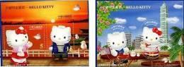 2004 Hello Kitty Stamps S/s Cartoon Sunset Oval Wharf Bird Taipei 101 Coconut Disney - Fruit