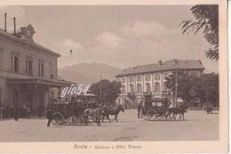 Aosta Hotel Victoria E Stazione Ferrovia Animata Carrozze - Italia