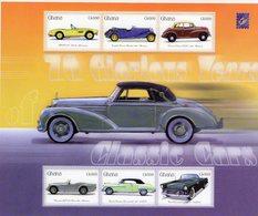 Ghana  -  Classic Cars  -  BMW-Bentley-Morris-Daimler-Dodge-Thunderbird  -  6v MS Neuf/Mint - Voitures