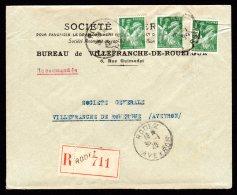 Lettre Recommandé De Rodez Pour Villefranche De Rouergue Du 30/01/1940 - Iris - Marcophilie (Lettres)