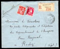 Lettre Recommandé De St-Christophe Vallon Du 25/07/1941 - Marcophilie (Lettres)