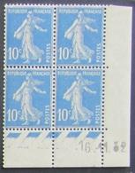 Semeuse 10 C. Bleu 279 En Bloc De 4 Coin Daté - 1903-60 Semeuse Lignée