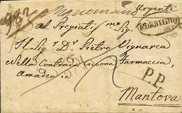 """B L.Veneto - Raccomandata Urgente Da Morbegno A Mantova Del 30.8.1838 Con """"Morbegno"""" In Ovale + """"P.P."""" + Tasse Fronte E  - Stamps"""