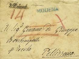 """B Modena - 2 Lettere Da Modena A Pellizzano (TN): Una Del 24.2.1827 Con Lineare SI """"Modena"""" In Azzurro Verde E """"Trient""""  - Stamps"""