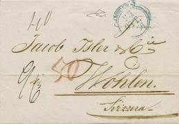 B Modena - Da Modena A Wohlen (Svizzera) Del 25.10.1856 Con Bolli (anche Al Verso) E Tasse Vari - Ottima Qualità - P.V.  - Stamps