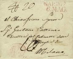 B Napoli - Da Napoli A Milano Del 6.5.1817 Con Tasse Varie - Buona Qualità - Foto - (56693F) - Stamps