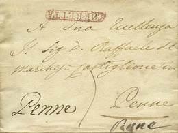 """B Napoli - Da Napoli (bollo Al Verso) A Penne (indicato 3 Volte) Dell'1.7.1836 Con """"Corretta"""" In Rosso + Tassa Manoscrit - Stamps"""
