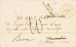 B Parma - Da Parma A Macerata Del 6.11.1847 Poi Rispedita A Roma Con Bolli Vari Anche Al Verso + Tassa - Senza Testo Int - Stamps