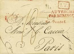 B Pontificio - Da Roma A Parigi Del 12.11.1825 Con Bolli E Tasse Vari - Ottima Qualità - P.V. - Foto - (59339F) - Stamps